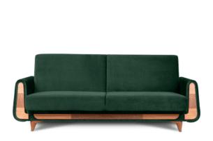 GUSTAVO, https://konsimo.pl/kolekcja/gustavo/ Zielona sofa rozkładana welur ciemny zielony - zdjęcie