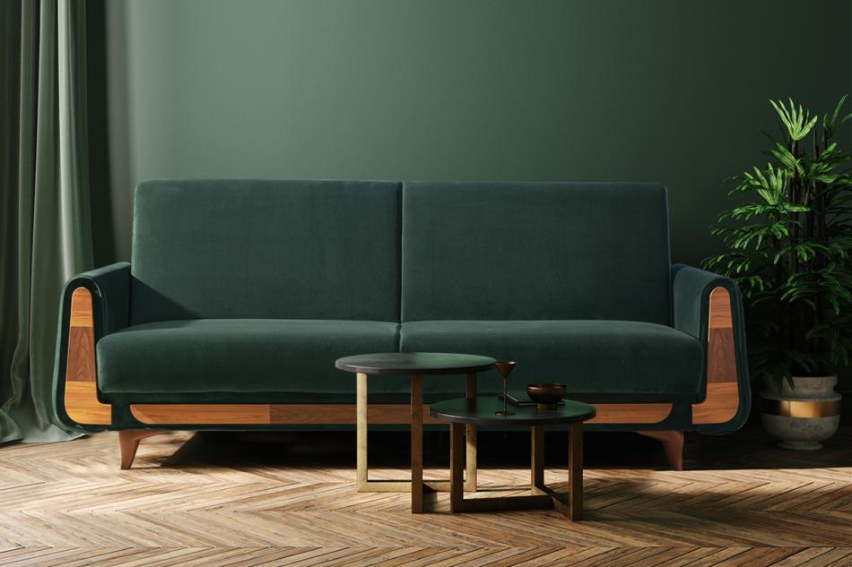 GUSTAVO Zielona sofa rozkładana welur ciemny zielony - zdjęcie 1