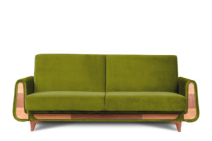 GUSTAVO, https://konsimo.pl/kolekcja/gustavo/ Oliwkowa sofa rozkładana welur oliwkowy - zdjęcie