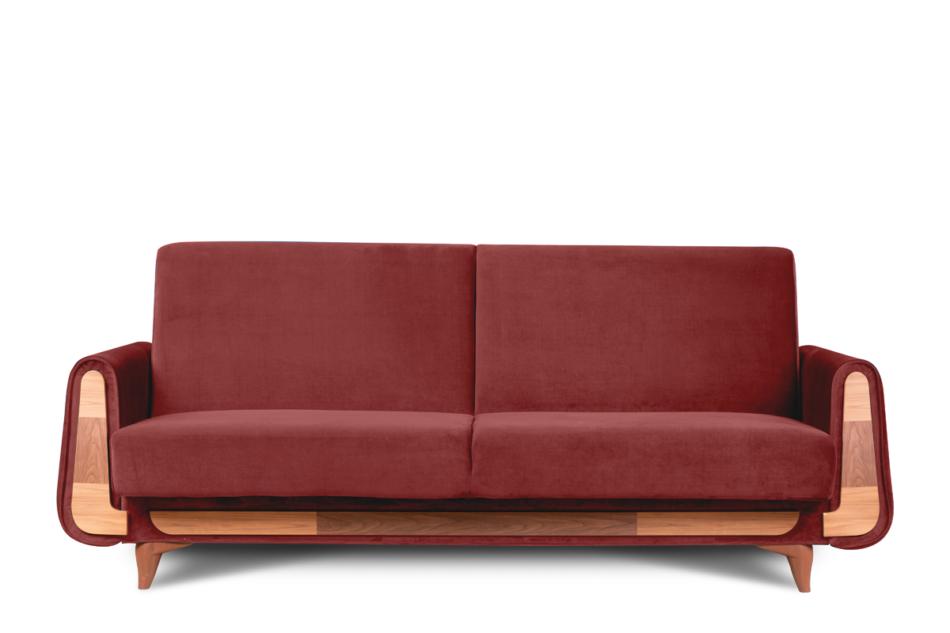 GUSTAVO Czerwona sofa rozkładana welur bordowy - zdjęcie 0