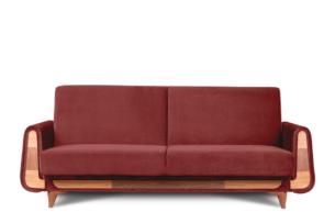 GUSTAVO, https://konsimo.pl/kolekcja/gustavo/ Czerwona sofa rozkładana welur bordowy - zdjęcie
