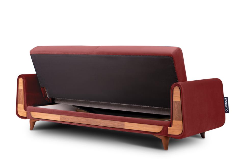 GUSTAVO Czerwona sofa rozkładana welur bordowy - zdjęcie 4