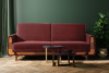 GUSTAVO Czerwona sofa rozkładana welur bordowy - zdjęcie 2