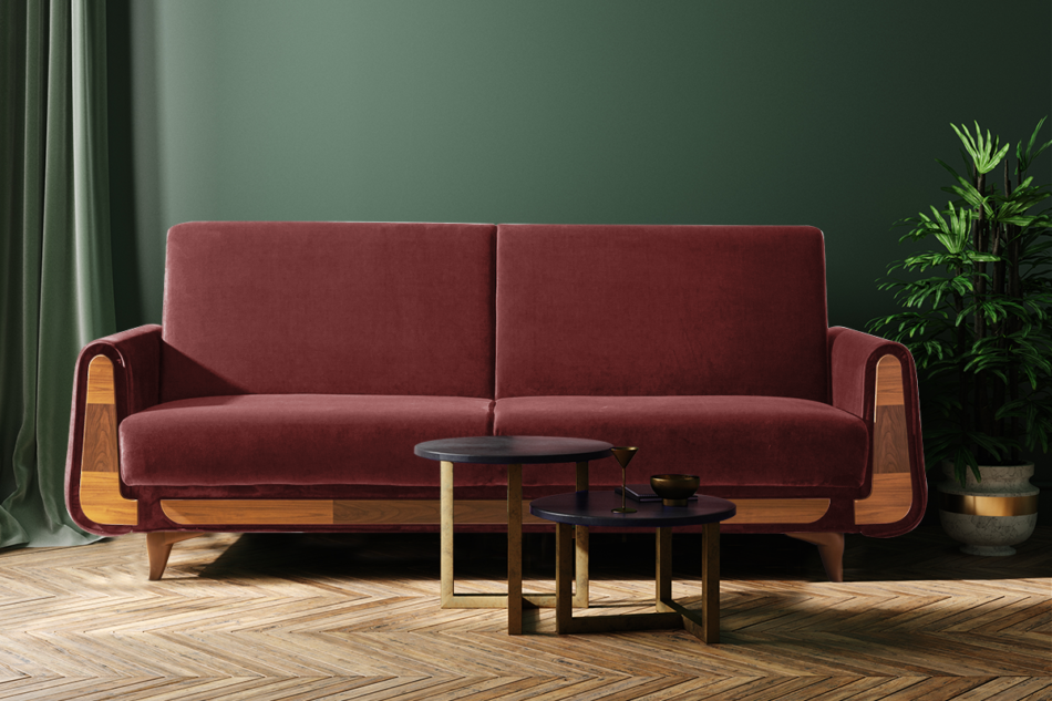 GUSTAVO Czerwona sofa rozkładana welur bordowy - zdjęcie 1