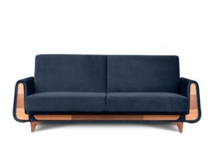 GUSTAVO, https://konsimo.pl/kolekcja/gustavo/ Granatowa sofa rozkładana welur granatowy - zdjęcie