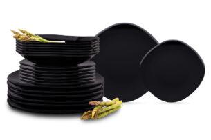 GRESI, https://konsimo.pl/kolekcja/gresi/ Nowoczesny zestaw obiadowy dla 6 osób czarny czarny - zdjęcie
