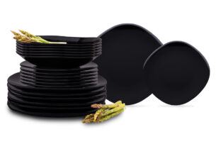 GRESI, https://konsimo.pl/kolekcja/gresi/ Nowoczesny zestaw obiadowy dla 12 osób czarny czarny - zdjęcie
