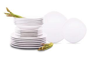 GRESI, https://konsimo.pl/kolekcja/gresi/ Zestaw obiadowy, 6 os. (18el.) biały - zdjęcie