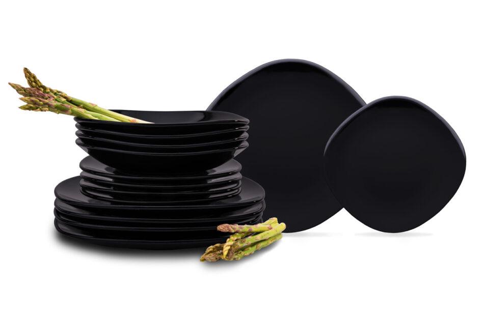 GRESI Nowoczesny zestaw obiadowy dla 4 osób czarny czarny - zdjęcie 0