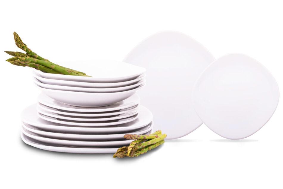 GRESI Nowoczesny zestaw obiadowy dla 12 osób biały biały - zdjęcie 0