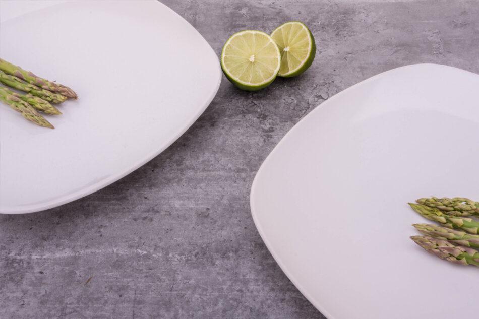 GRESI Nowoczesny zestaw obiadowy dla 12 osób biały biały - zdjęcie 1