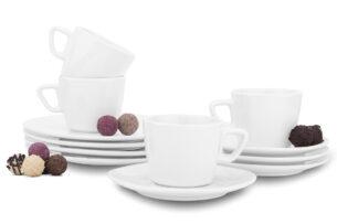GRESI, https://konsimo.pl/kolekcja/gresi/ Nowoczesny zestaw kawowy dla 4 osób biały biały - zdjęcie