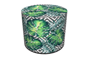 RASIL, https://konsimo.pl/kolekcja/rasil/ Okrągły puf liście palmy czarny/zielony - zdjęcie