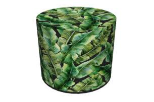 RASIL, https://konsimo.pl/kolekcja/rasil/ Okrągły puf liście bananowca ciemny zielony - zdjęcie