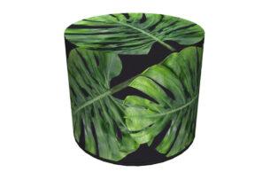 RASIL, https://konsimo.pl/kolekcja/rasil/ Okrągły puf liście monstery ciemny zielony/czarny - zdjęcie