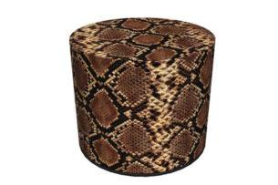 RASIL, https://konsimo.pl/kolekcja/rasil/ Okrągły puf łuska skóra węża brązowy - zdjęcie