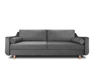 SATEO, https://konsimo.pl/kolekcja/sateo/ Sofa z funkcją spania z pojemnikiem na pościel welwet szara szary - zdjęcie
