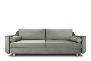 SATEO, https://konsimo.pl/kolekcja/sateo/ Sofa z funkcją spania z pojemnikiem na pościel welwet beżowa beżowy - zdjęcie