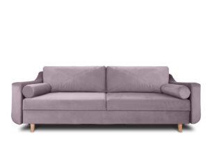SATEO, https://konsimo.pl/kolekcja/sateo/ Sofa z funkcją spania z pojemnikiem na pościel welwet różowa różowy - zdjęcie