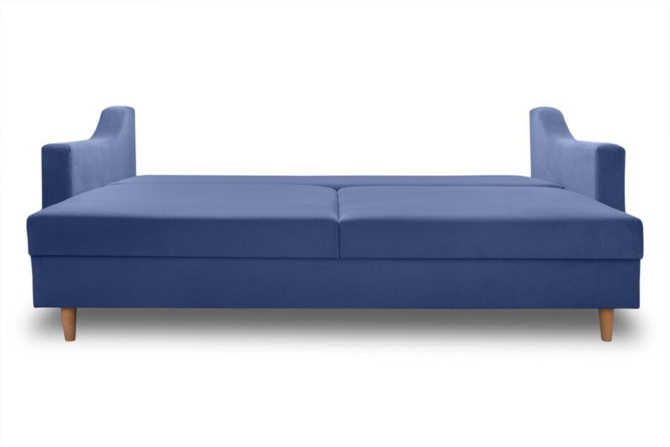 SATEO Sofa z funkcją spania z pojemnikiem na pościel welwet granatowa granatowy - zdjęcie 4