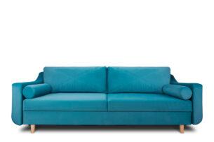 SATEO, https://konsimo.pl/kolekcja/sateo/ Sofa z funkcją spania z pojemnikiem na pościel welwet turkusowa turkusowy - zdjęcie