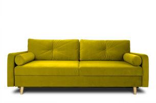 NARTEN, https://konsimo.pl/kolekcja/narten/ Kanapa 3 osobowa rozkładana welur oliwkowa żółty - zdjęcie