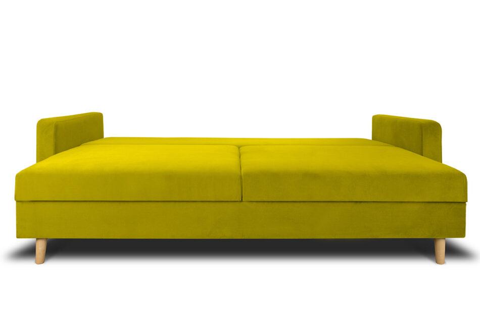 NARTEN Kanapa 3 osobowa rozkładana welur oliwkowa żółty - zdjęcie 7