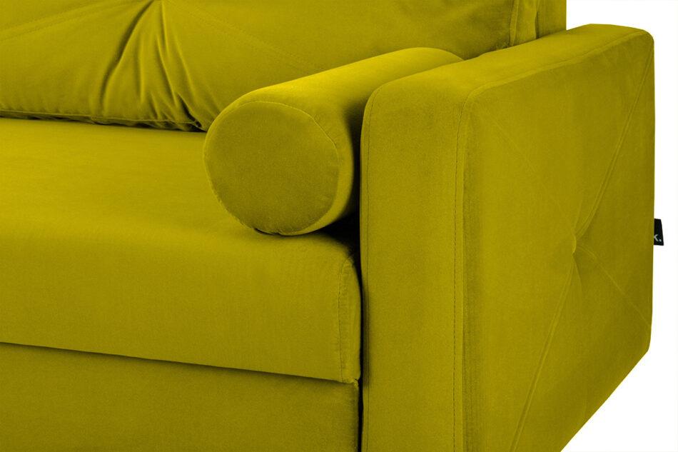 NARTEN Kanapa 3 osobowa rozkładana welur oliwkowa żółty - zdjęcie 9