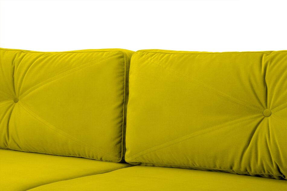 NARTEN Kanapa 3 osobowa rozkładana welur oliwkowa żółty - zdjęcie 3