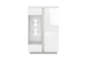 HOSTA, https://konsimo.pl/kolekcja/hosta/ Szklana witryna biała z połyskiem glamour biały połysk - zdjęcie