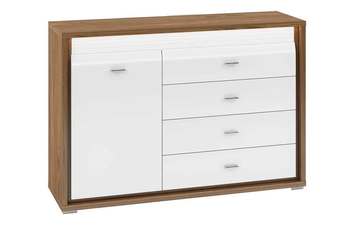 Duża komoda z półkami i szufladami do salonu biała / orzech