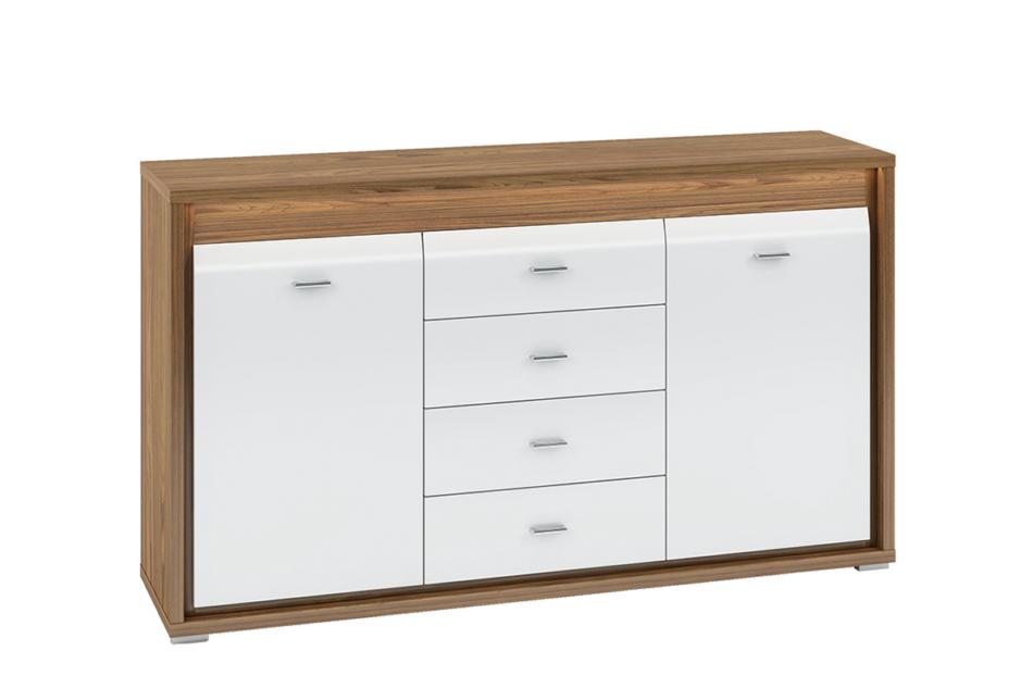 SULA Pojemna komoda z półkami i szufladami do salonu orzech / biała orzech naturalny/biały - zdjęcie 0