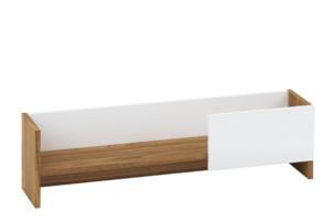 SULA, https://konsimo.pl/kolekcja/sula/ Półka wisząca 90 cm do salonu biały / orzech naturalny biały/orzech naturalny - zdjęcie