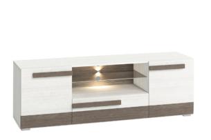 SARPA, https://konsimo.pl/kolekcja/sarpa/ Prosta duża szafka rtv 165 cm biała / brązowa biały/brązowy - zdjęcie