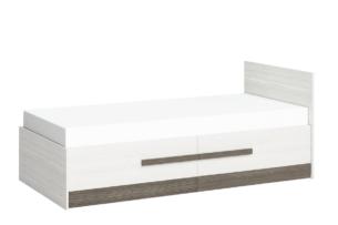 SARPA, https://konsimo.pl/kolekcja/sarpa/ Pojedyncze proste łóżko ze stelażem 90 x 200 cm białe / brązowe biały/brązowy - zdjęcie