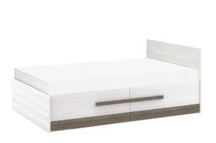 SARPA, https://konsimo.pl/kolekcja/sarpa/ Podwójne proste łóżko ze stelażem 120 x 200 cm białe / brązowe biały/brązowy - zdjęcie