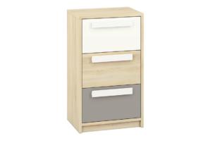 PONGO, https://konsimo.pl/kolekcja/pongo/ Wąska komoda z szufladami do pokoju dziecięcego szara / biała / buk buk/biały/ciemny szary - zdjęcie