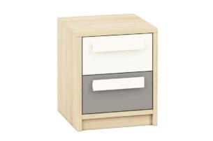 PONGO, https://konsimo.pl/kolekcja/pongo/ Szafka nocna z szufladami do pokoju dziecięcego szara / biała / buk buk/biały/ciemny szary - zdjęcie