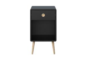 SOFTLINE, https://konsimo.pl/kolekcja/softline/ Skandynawski stolik nocny z szufladą na nóżkach czarny czarny/dąb - zdjęcie