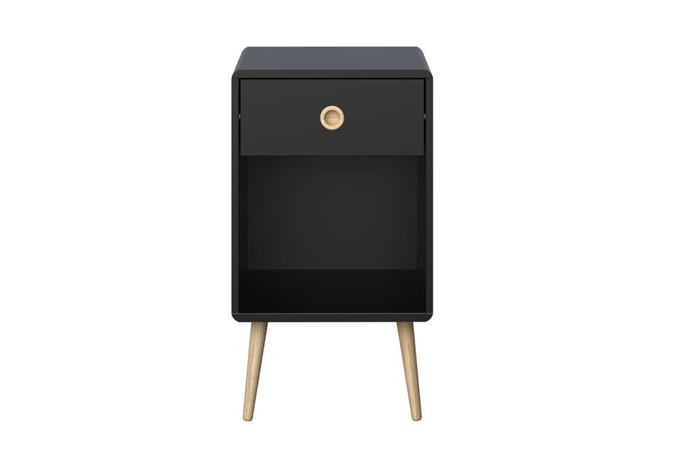 SOFTLINE Skandynawski stolik nocny z szufladą na nóżkach czarny czarny/dąb - zdjęcie 0