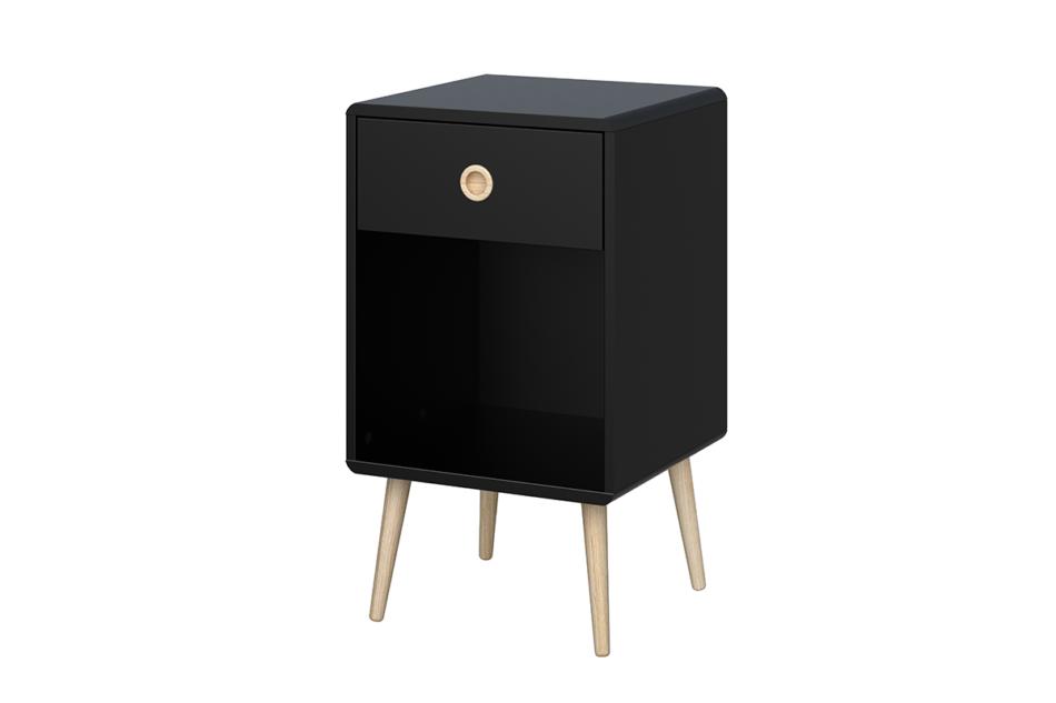 SOFTLINE Skandynawski stolik nocny z szufladą na nóżkach czarny czarny/dąb - zdjęcie 2