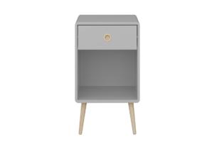 SOFTLINE, https://konsimo.pl/kolekcja/softline/ Skandynawski stolik nocny z szufladą na nóżkach szary szary/dąb - zdjęcie