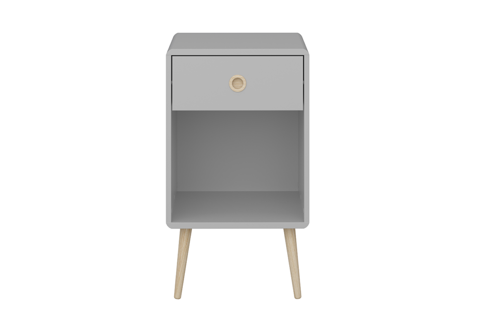 SOFTLINE Skandynawski stolik nocny z szufladą na nóżkach szary szary/dąb - zdjęcie 0