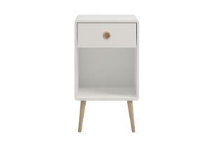 SOFTLINE, https://konsimo.pl/kolekcja/softline/ Skandynawski stolik nocny z szufladą na nóżkach biały biały/dąb - zdjęcie