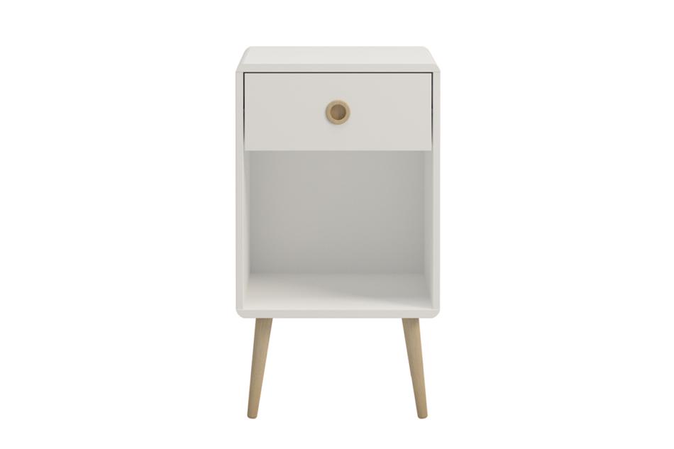 SOFTLINE Skandynawski stolik nocny z szufladą na nóżkach biały biały/dąb - zdjęcie 0