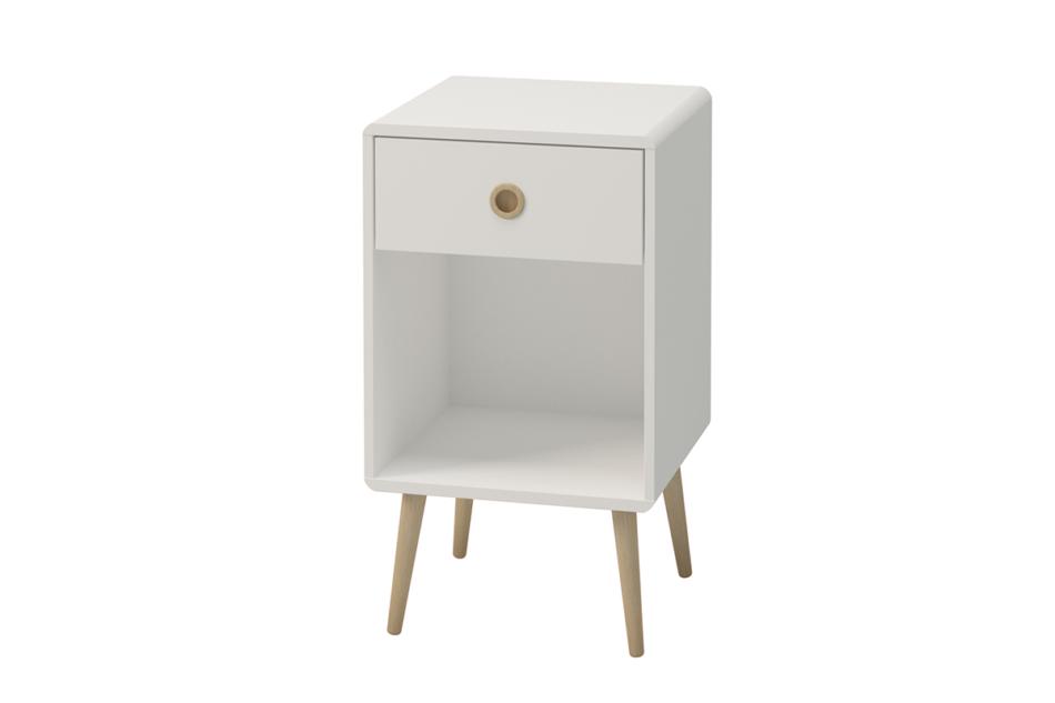 SOFTLINE Skandynawski stolik nocny z szufladą na nóżkach biały biały/dąb - zdjęcie 2