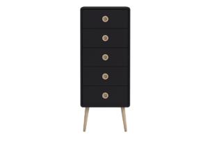 SOFTLINE, https://konsimo.pl/kolekcja/softline/ Skandynawska wąska komoda z szufladami na nóżkach czarna czarny/dąb - zdjęcie