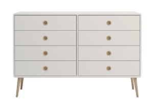 SOFTLINE, https://konsimo.pl/kolekcja/softline/ Skandynawska duża podwójna komoda biała biały/dąb - zdjęcie
