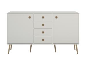 SOFTLINE, https://konsimo.pl/kolekcja/softline/ Duża skandynawska komoda z półkami i szufladami biała biały/dąb - zdjęcie