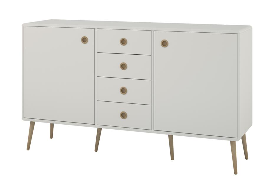 SOFTLINE Duża skandynawska komoda z półkami i szufladami biała biały/dąb - zdjęcie 2